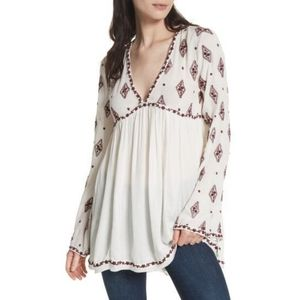 Free People Embroidered Bell Sleeve Top Size Small